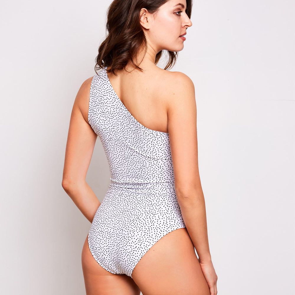 Angelica one piece swimsuit dots white swimwear, back | Contessa Volpi Summer 2019/2020 Collection