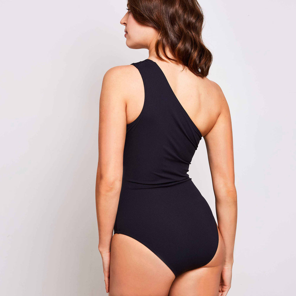 Angelica one piece swimsuit ribbed black swimwear, back | Contessa Volpi Summer 2019/2020 Collection