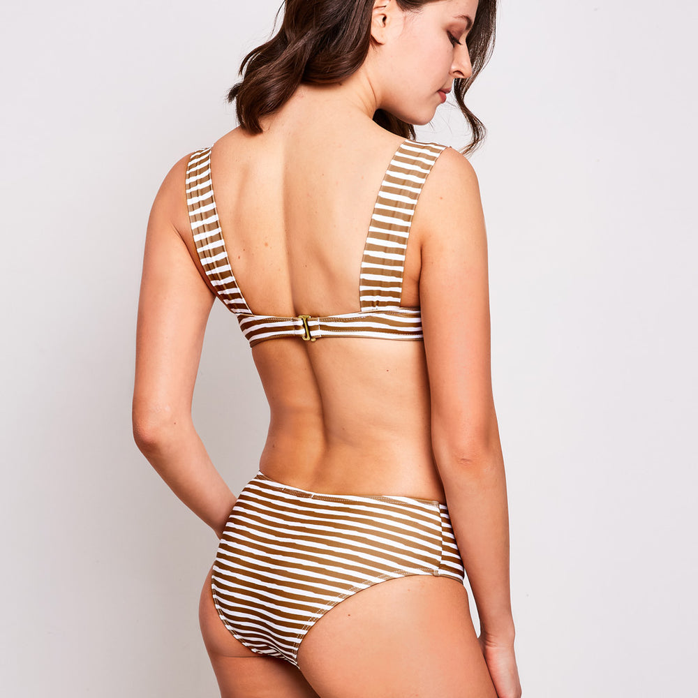 Aria bikini stripes white and olive swimwear, back | Contessa Volpi Summer 2019/2020 Collection