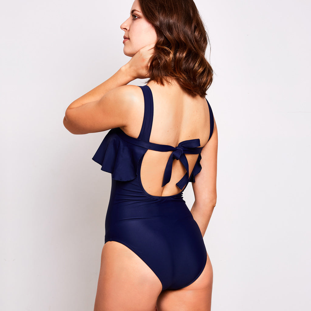 Clara one piece swimsuit navy blue swimwear, back | Contessa Volpi Summer 2019/2020 Collection