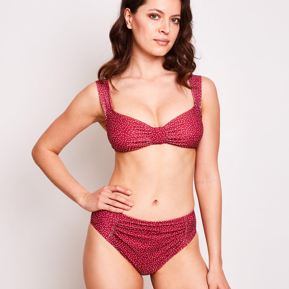 mid rise bikini bottom print dots cherry by australian brand contessa volpi 2