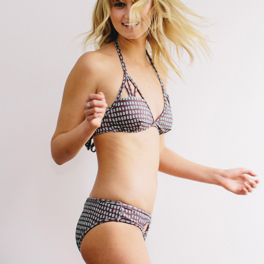 "Triangle Bikini In Aubergine Colour- Style ""BEATRICE"" - Swimwear by Contessa Volpi"