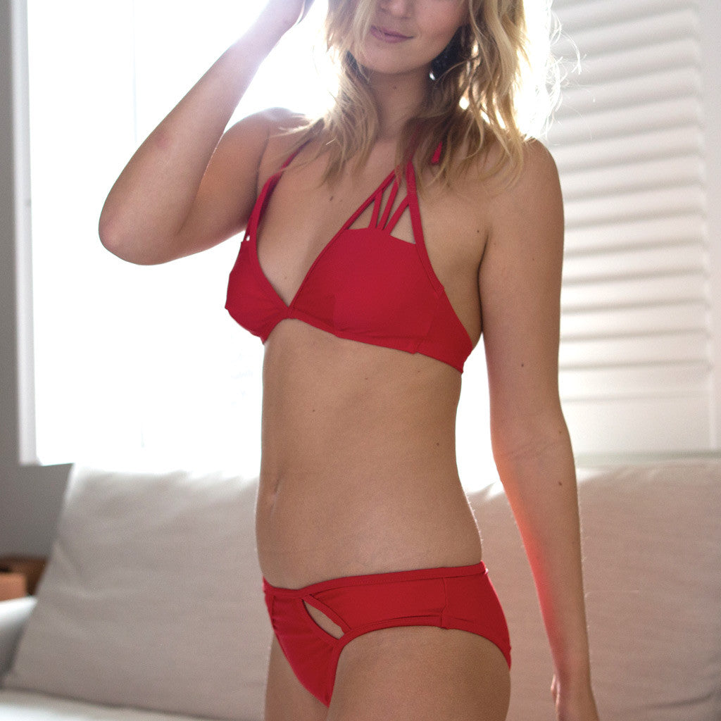 "Red Triangle Bikini - Style ""BEATRICE"" - Swimwear by Contessa Volpi"