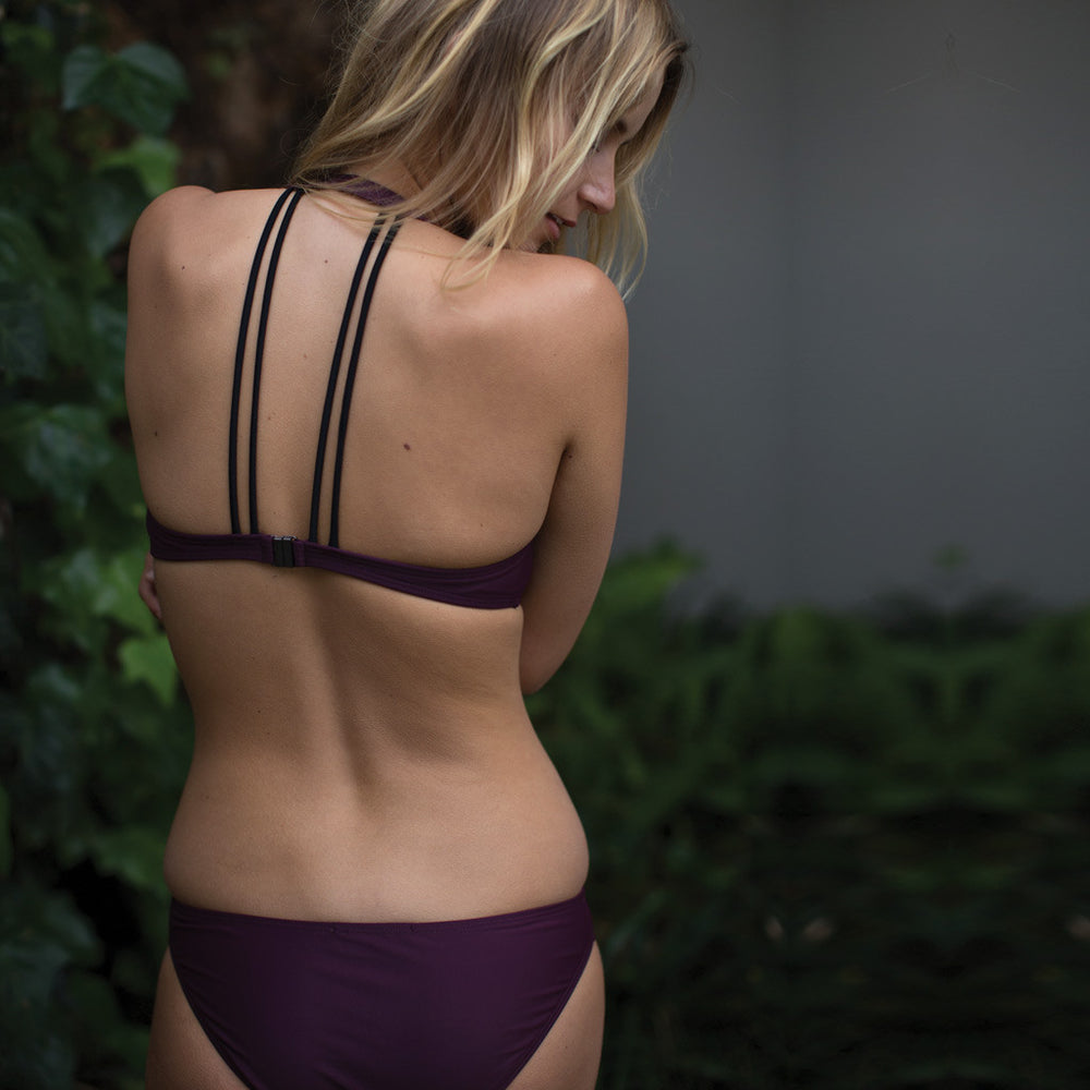 "Aubergine Coloured Bikini With a V Neckline- Style ""REBECCA"" - Swimwear by Contessa Volpi"