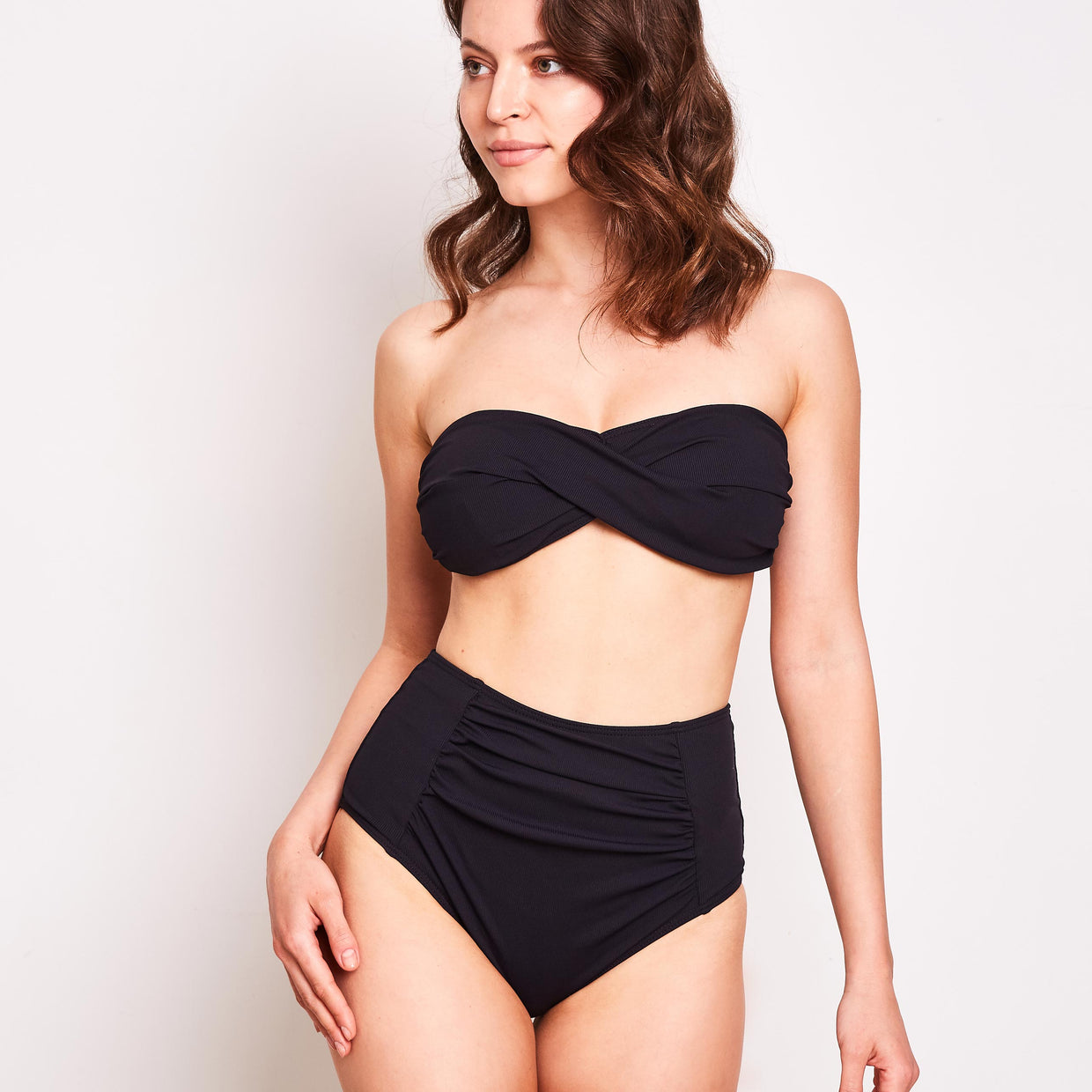 Erica Bikini Bottom High Waisted Ribbed Black - 'The fit is true to size and flattering'