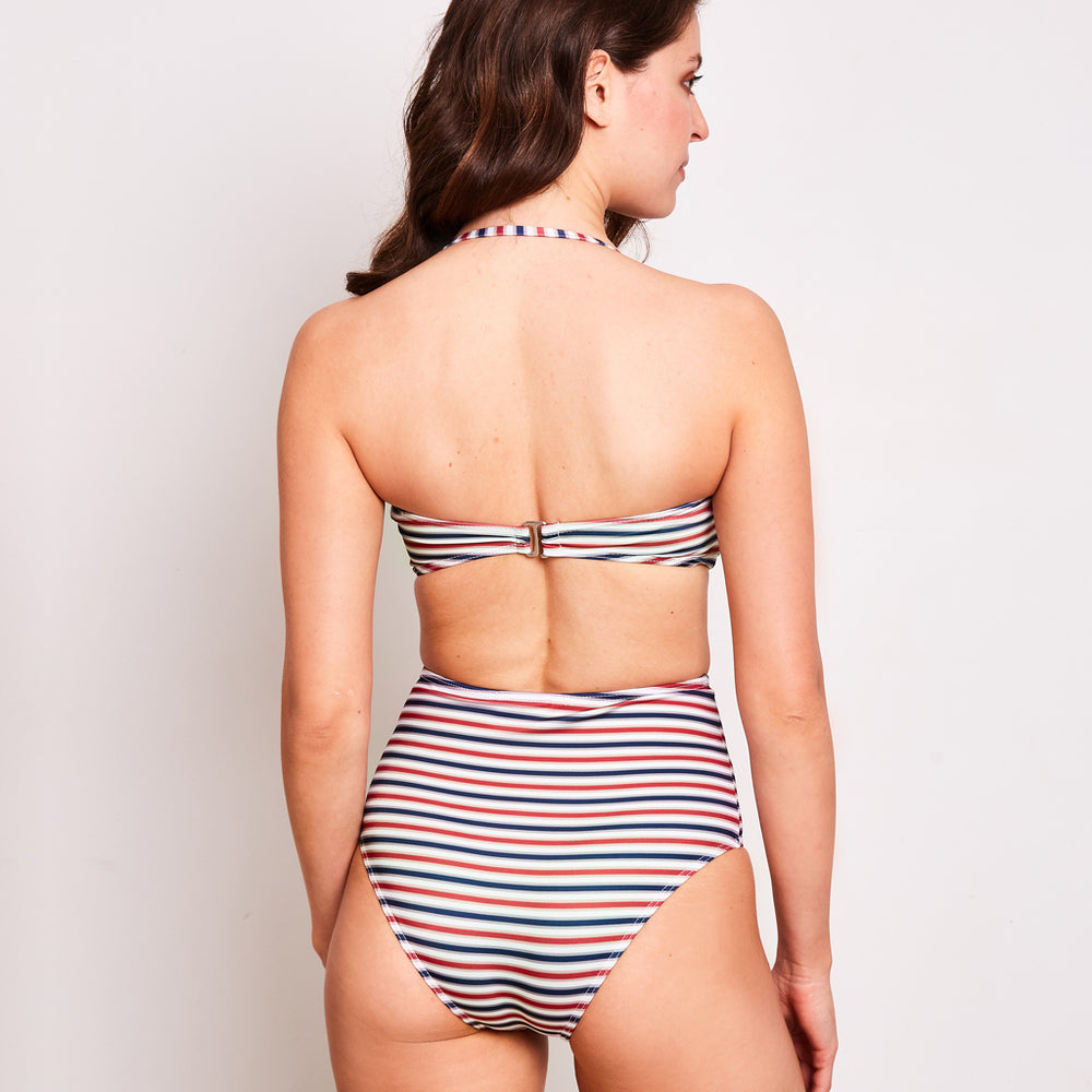 Erica-high-waisted-bikini-stripes-navy-cherry-white-back-contessa-volpi-swimwear