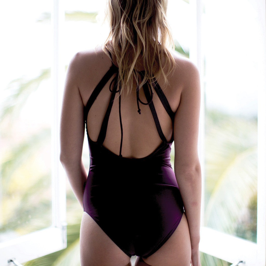 "Aubergine One-Piece Swimsuit- Style ""EMMA"" - Swimwear by Contessa Volpi"