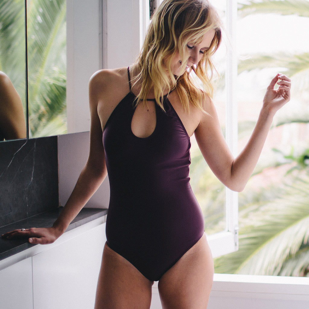 "Aubergine One-Piece Swimsuit- Style ""EMMA"""