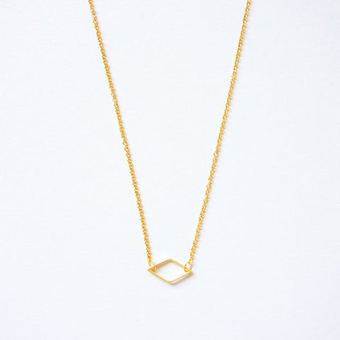16k Gold Plated Mini Outline Diamond Connector Necklace