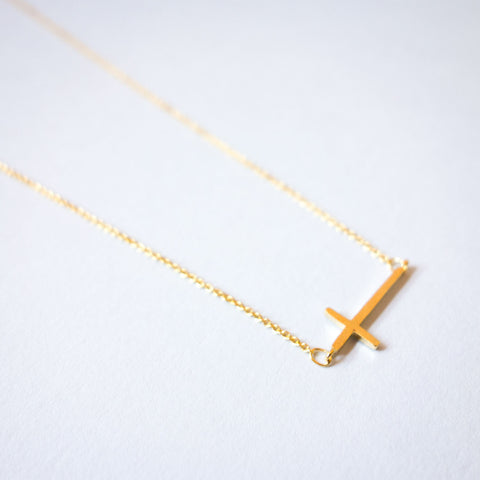 16k Gold Plated Horizontal Cross Necklace
