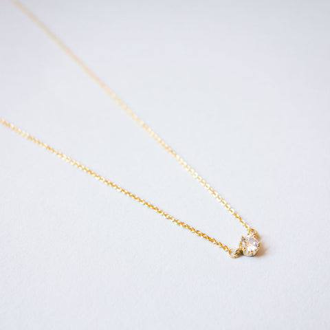 16k Gold Plated Mini Cubic Zirconia Connector Necklace