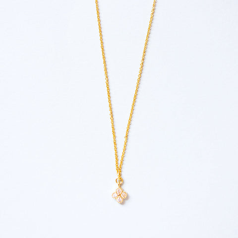 Gold Plated Clover Cubic Zirconia Pendant Necklace
