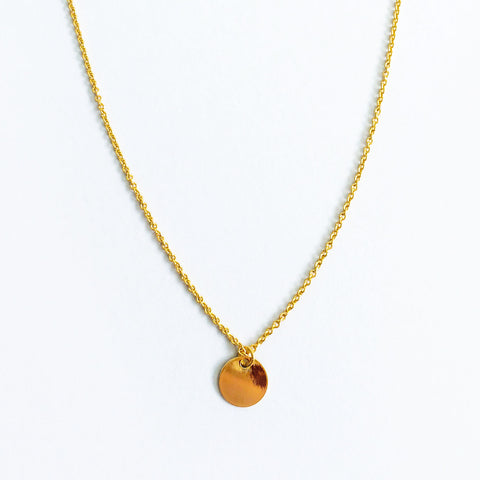 16k Gold Plated Small Circle Coin Pendant Necklace