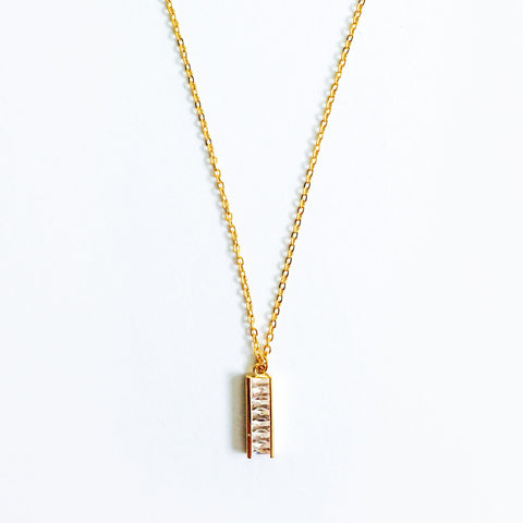 16k Gold Plated Cubic Zirconia Lined Bar Pendant Necklace