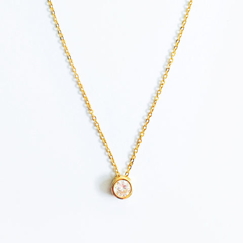 16k Gold Plated Solitaire Cubic Zirconia Necklace