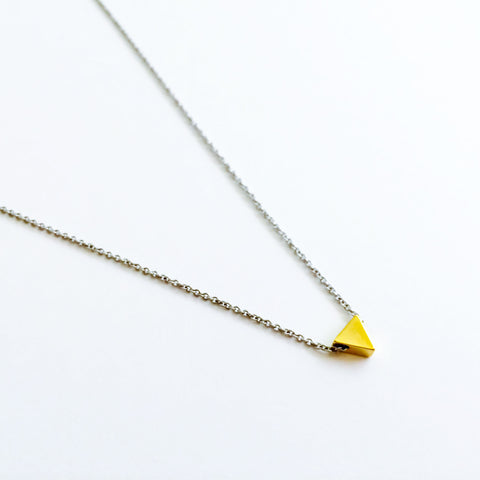16k Gold Plated Mini Triangle Pendant Necklace on Silver Chain