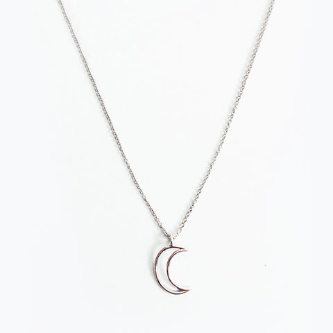 Silver Rhodium Plated Moon Outline Pendant Necklace