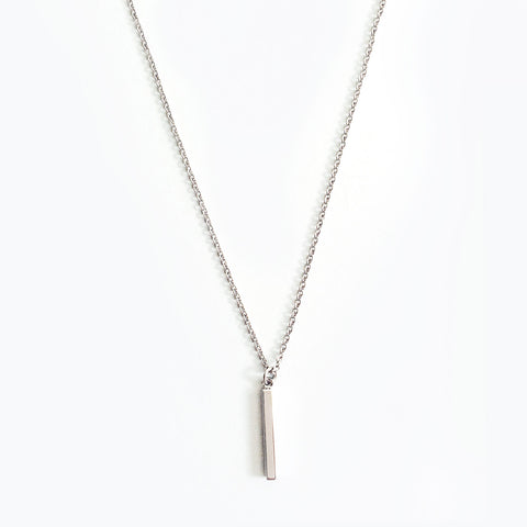 Silver Rhodium Plated Mini Bar Pendant Necklace