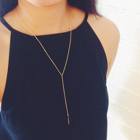 Delicate 16k Gold Plated Bar Pendant Drop Necklace