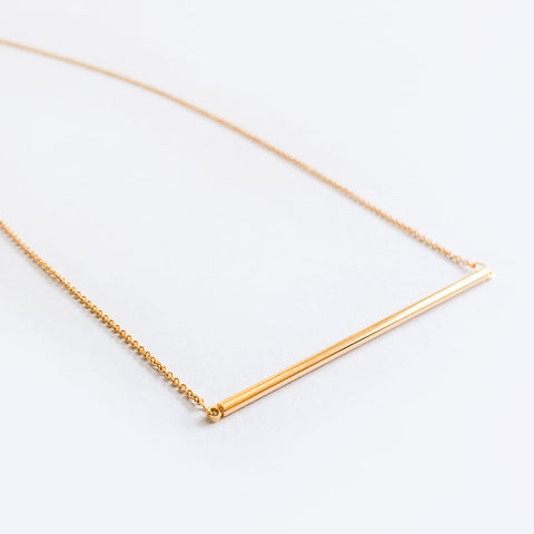 16k Gold Plated Thin Wide Bar Necklace