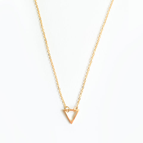 16k Gold Plated Triangle Outline Pendant Necklace