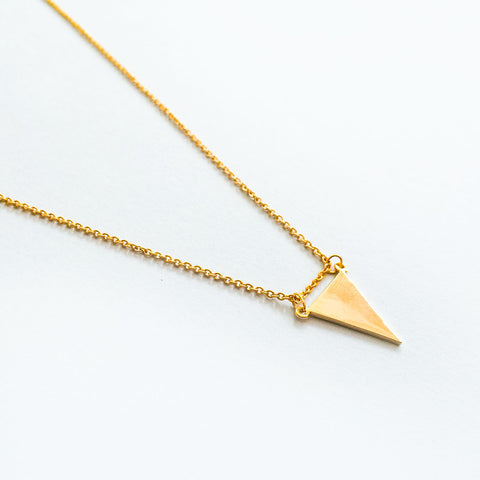 16k Gold Plated Triangle Plate Pendant Necklace