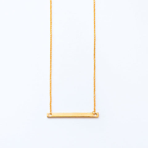 16k Gold Plated Nameplate Bar Necklace