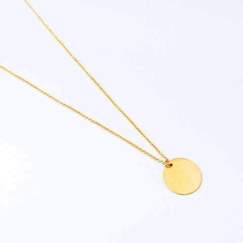 16k Gold Plated Medium Circle Coin Pendant Necklace