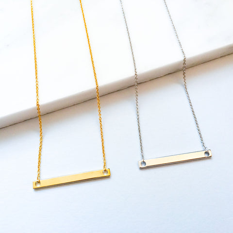 16k Gold Plated and Silver Nameplate Bar Necklace