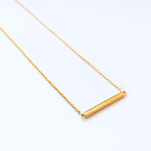 16k Gold Plated Rectangular Bar Connector Necklace
