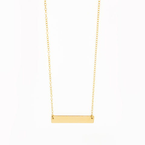 14k Gold Filled Flat Bar Necklace