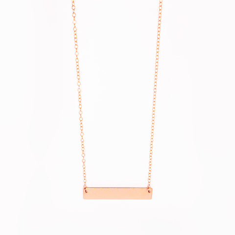 14k Rose Gold Filled Flat Bar Necklace