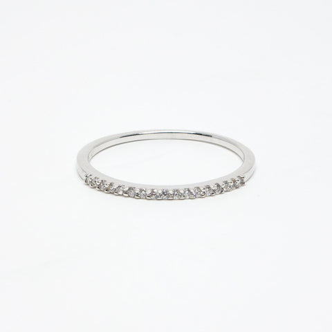 Silver Rhodium Plated Cubic Zirconia Band Ring