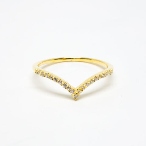 18k Gold Vermeil Cubic Zirconia Chevron Ring
