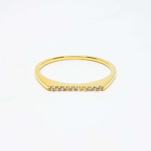 18k Gold Vermeil Cubic Zirconia Flat Top Ring