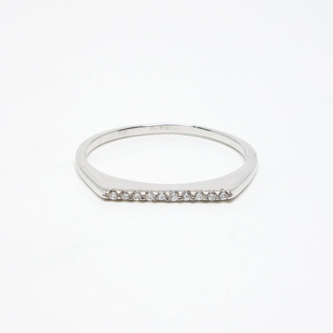 Silver Rhodium Plated Cubic Zirconia Flat Top Ring