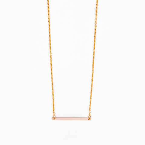14k Rose Gold Filled Mini Bar Necklace