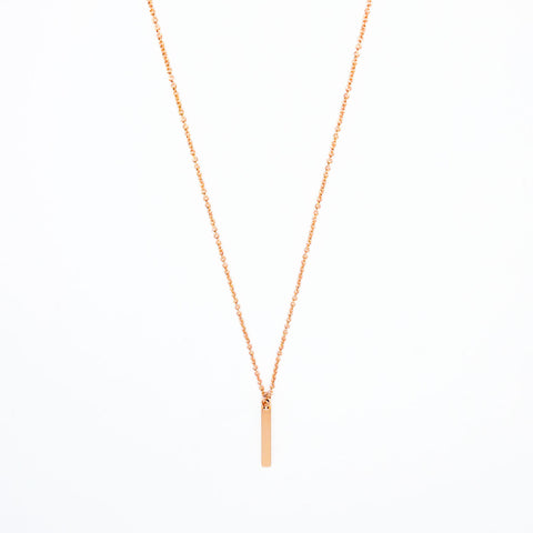 16k Rose Gold Plated Mini Bar Pendant Necklace