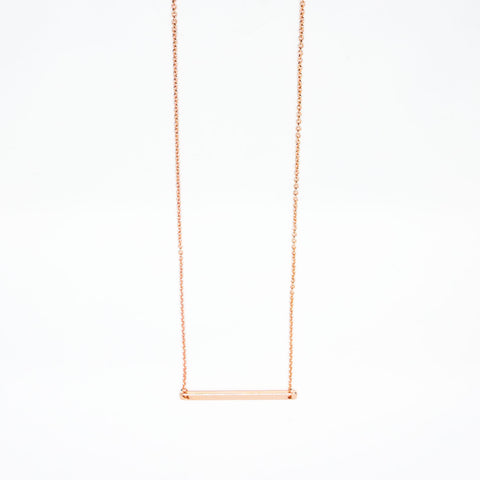 16k Rose Gold Plated Nameplate Bar Necklace