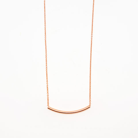 14k Rose Gold Filled Curved Tube Necklace
