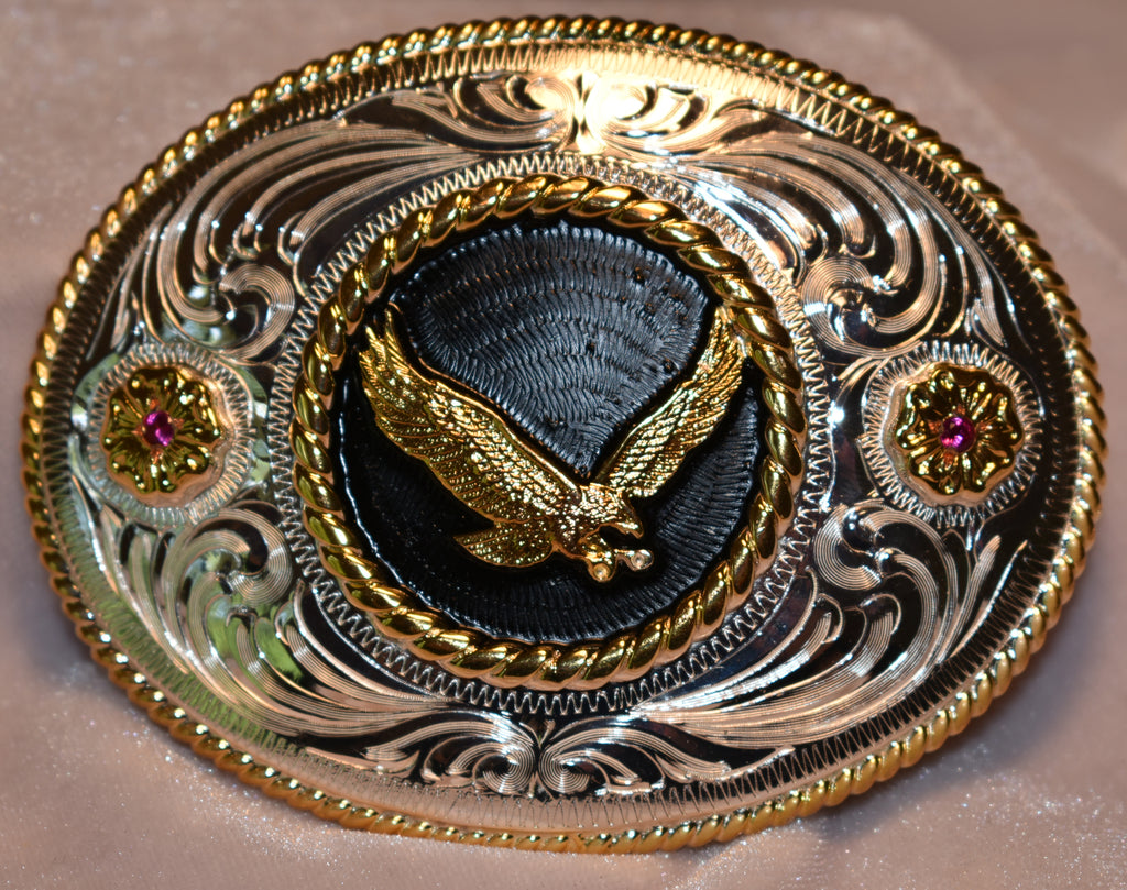 Copy of Western Belt Buckle with Texas Longhorn and Red Stones