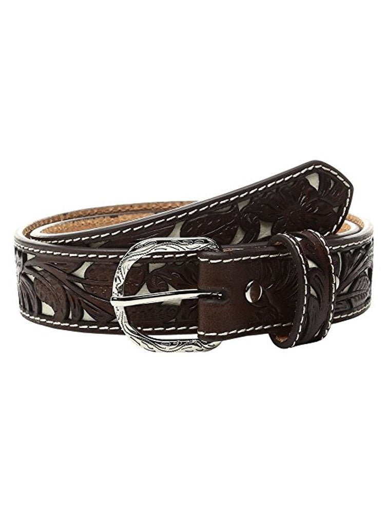 Children's Western Belt with Floral Overlay and Ivory Background