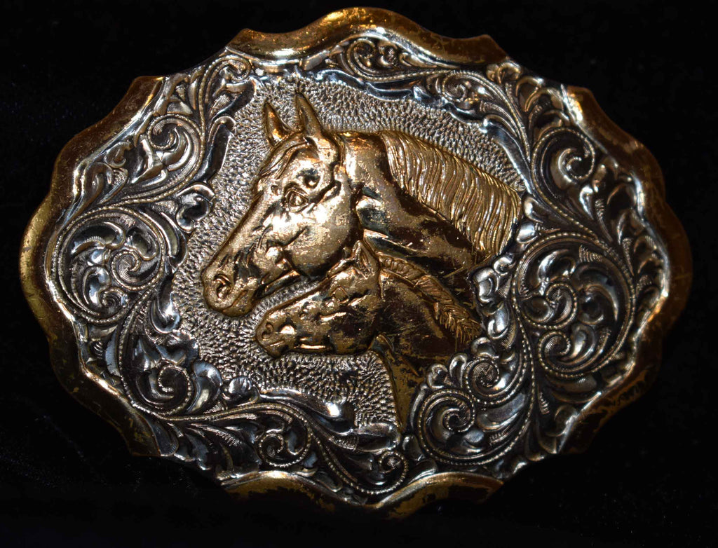Children's Belt Buckle with Mare & Foal