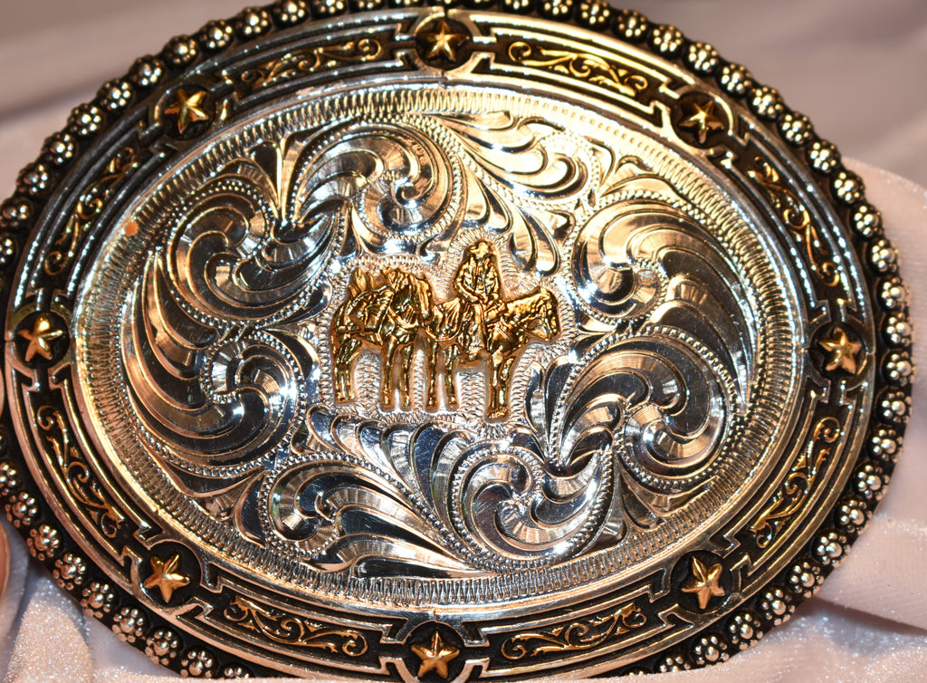 Belt Buckle with Horse Pack & Rider