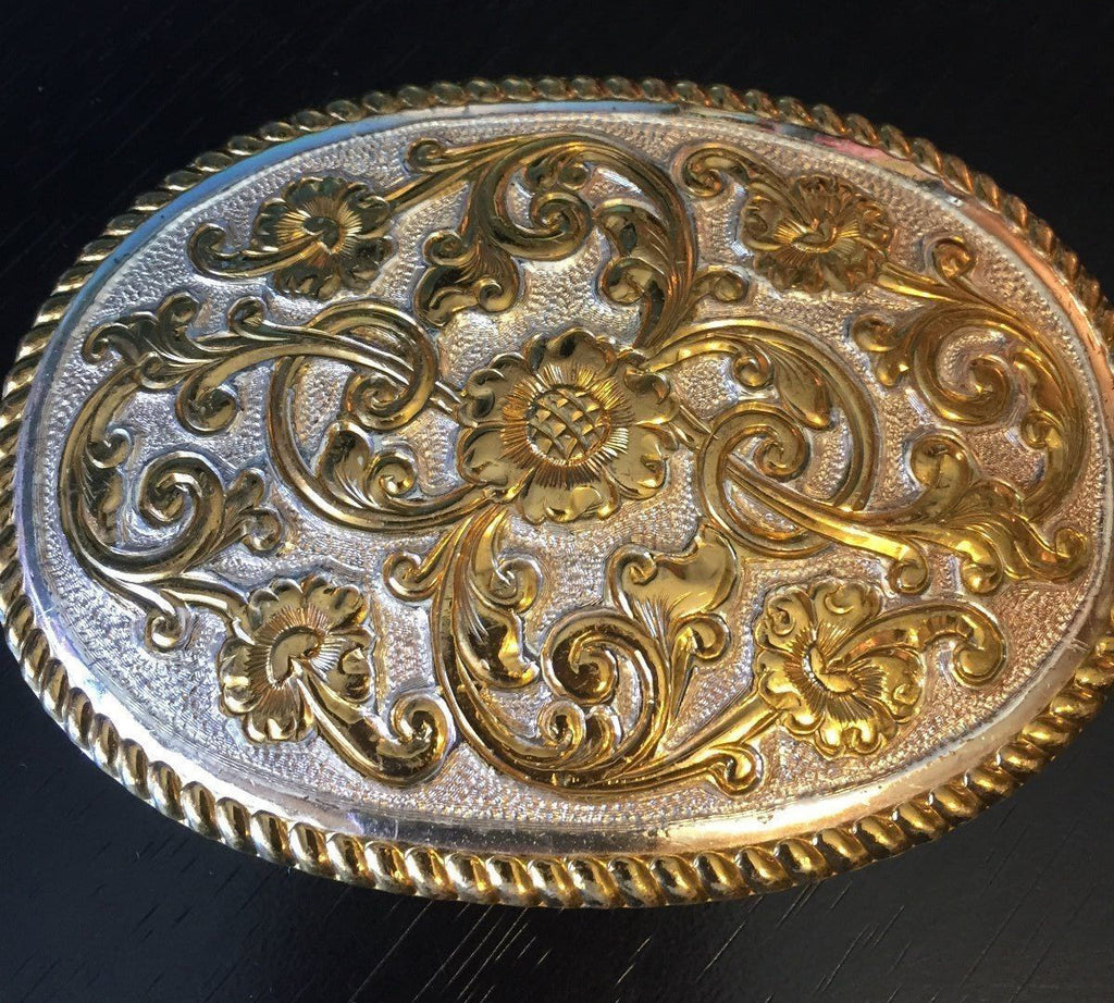 Crumrine Floral Silver & Gold Belt Buckle