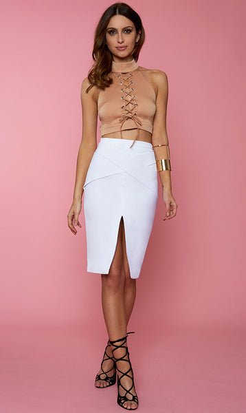 FAITH MIDI SKIRT – NUDE