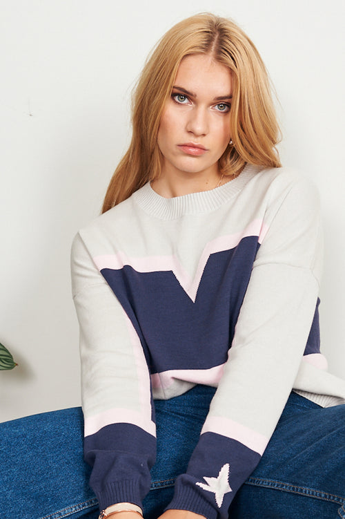 Scarlette Sweat Crew - pale grey with blue