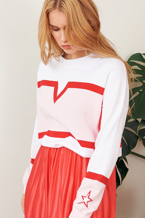 Scarlette Sweat Crew - white with pink