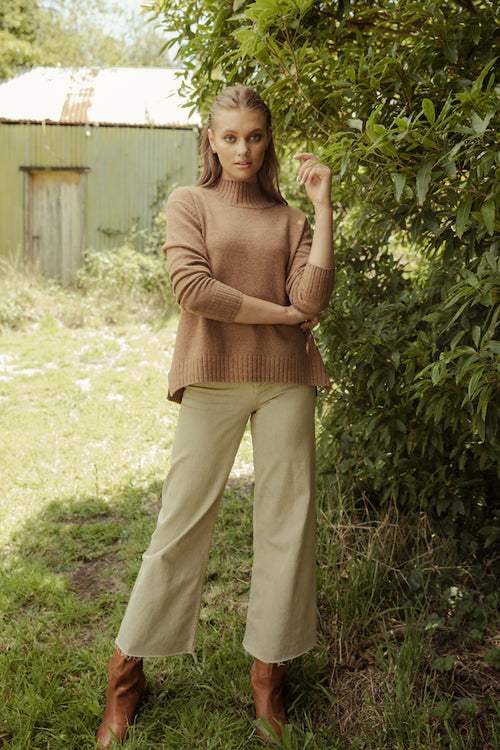 Florence Funnel Neck Knit - chesnut