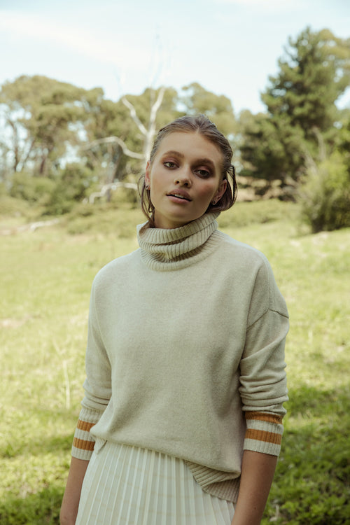 Orchid Relaxed Roll Neck Knit - nougat and honey